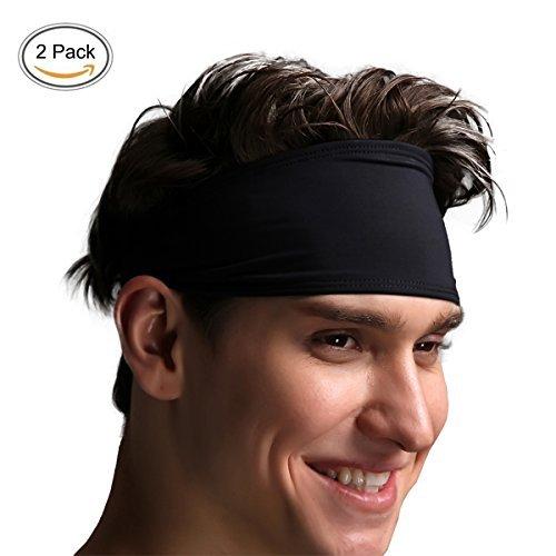 VIMOV Herren Stirnband–Sport Schweißband für Laufen, Radfahren, Yoga, Basketball–Dehnbar Feuchtigkeitstransport Haarband, 2Pack, Schwarz