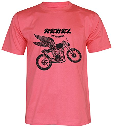 PALLAS Unisex's Motorcycle Club Rebel Vintage T Shirt Pink