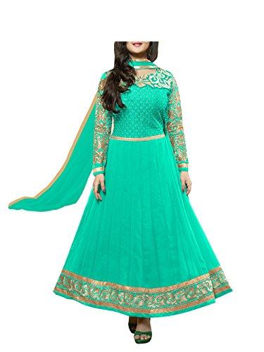 Vibes Women Georgette Patch Work Unstitched Salwar Kameez Dress Material (V20-21007 _Green _Free Size)