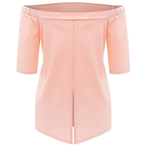Damen Langen Langarm Langshirt Trägerlos Normallacks Hemd Casual Loose Blusen Oberteile T-Shirt Tops Rosa