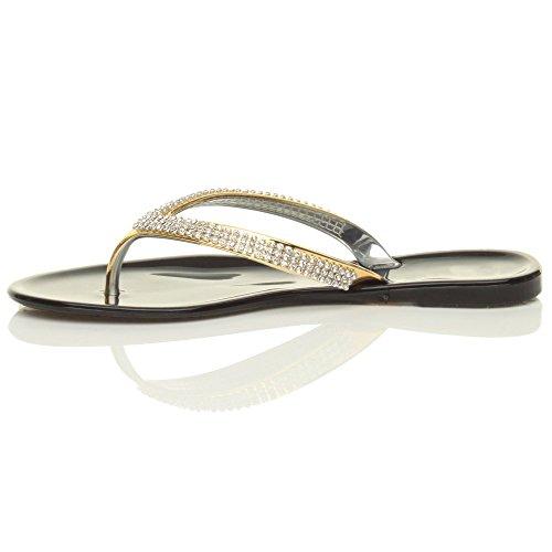 Femmes plat sangles d'or strass caoutchouc tongs sandales flip flops pointure Noir