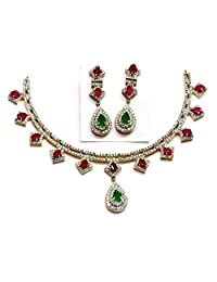 Shingar Jewellery Diamond Look Necklace Set In Ruby Panna Colour For Women (64-nad-a)