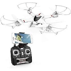 DBPOWER FPV Drone avec Caméra WiFi Live Video, 4 Channel 6 Axe RTF Quadricoptère RC avec Mode sans Tête, Maintien d'altitude,Vol de Trajectoire, 360°Flips, pour Les Débutants et Les Enfants, Blanc