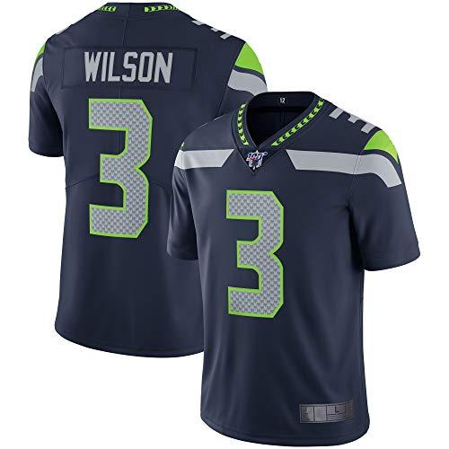TOPSTEE Custom Jersey Herren #3 Wilson Seahawks Seattle Navy 100 Vapor Limited Jersey Sportswear T-Shirt Gr. L, Navy