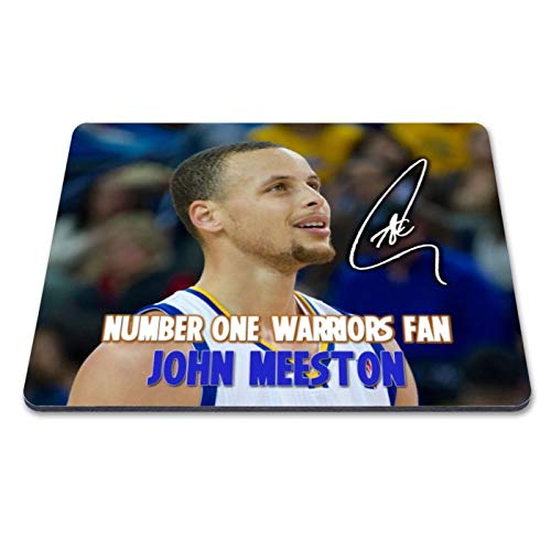 en State Warriors - NBA 3 Personalised Gift Print Mouse Mat Autograph Computer Rest Mouse Mat Compatible with Laser and Optical Mice (with Personalised Message) ()