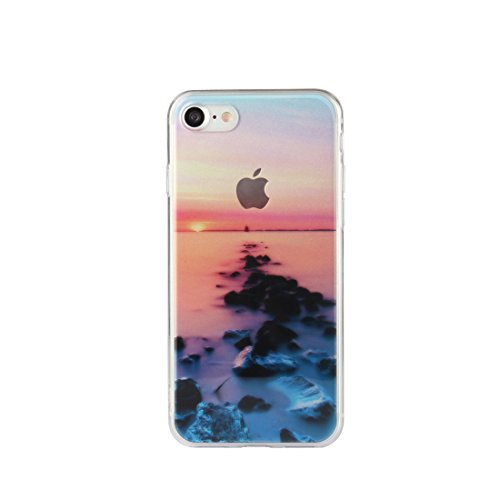 DBIT iPhone 7 Case, PU Pelle Flip Placcatura TPU Custodia Protezione Case Cover per Apple iPhone 7,Argento mare tramonto