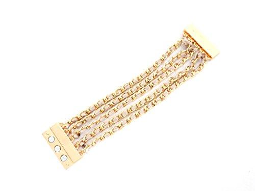BC60–Armband Magnet multi-rangs Kette und geflochtene–Beige–Mode Fantasie