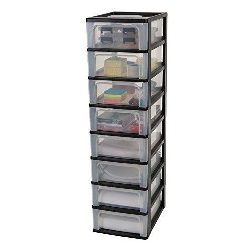 Iris Organizer Chest OCH-2008 Schubladencontainer-/schrank, Kunststoff, schwarz/transparent, 35,5 x 26 x 96,5 cm
