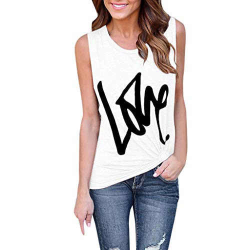 bccf21c4cbe6 KIMODO Womens Tops Fashion Soild Color Print Blouse Vest Fashion Sleeveless  T-Shirt Lady Summer