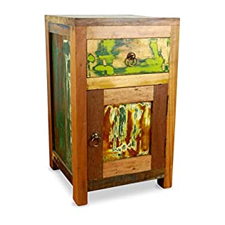 Asia Wohnstudio Colourful Bedside Table made from Reclaimed Teak Wood, old Boat Wood, small Cabinet/Cupboard from Java (Indonesia)