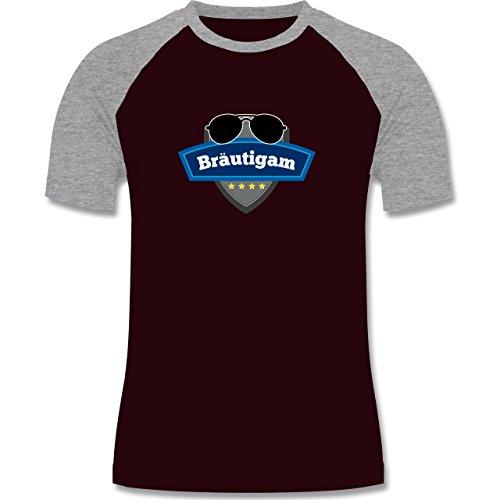 JGA Junggesellenabschied - Bräutigam Police - zweifarbiges Baseballshirt für Männer Burgundrot/Grau meliert