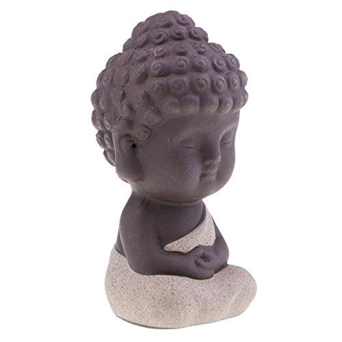 Magideal Keramik Kleine Statue von Buddha Indien Yoga Mandala Komplettsystem Skulpturen Haus 95x55x55mm beige