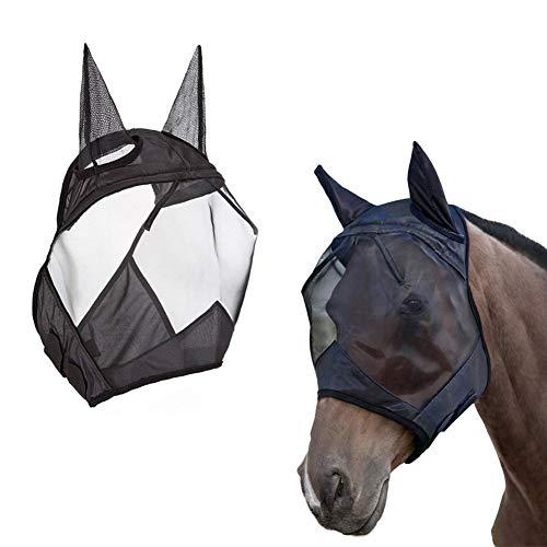 knowledgi CareMaster Maschera Anti-Mosche per Cavallo UV Protezione con para Orecchie