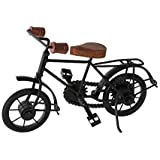 MUSSAL Show Pieces for Home Decor Metal Handicrafts Antique Wooden and Iron Cycle, , 10 x 7 Inches, Black