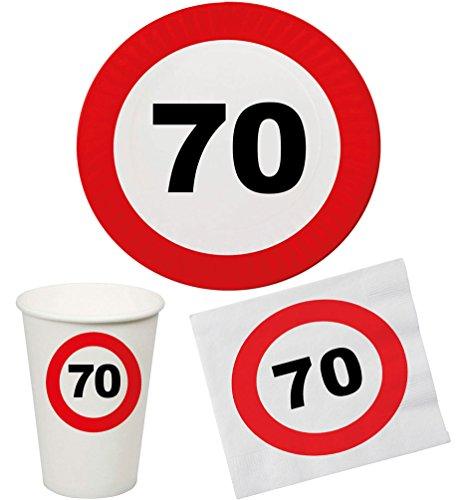 Party Set 32 Teile Geburtstag 70 Jahre Verkehrsschild (Teller 70. Geburtstag)