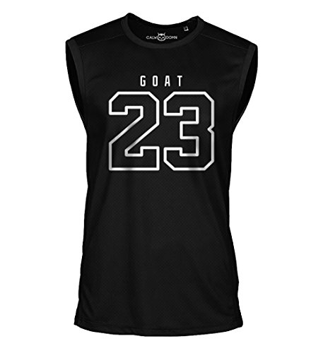 23 Goat Jordan Sleeveless Shirt Greatest of All Time Basketball Jersey Trikot Michael Bulls (L, Schwarz)
