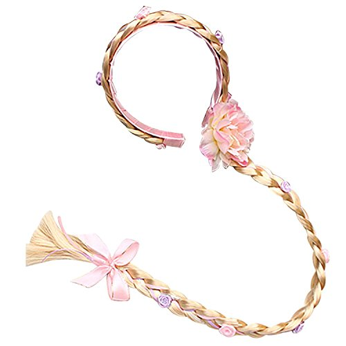 L-Peach Accesorios de Princesa Dress Up Trenza Rosa para para Niñas C