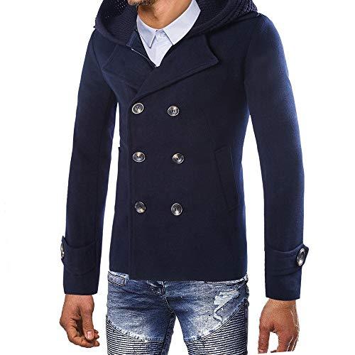 FIRSS Herren Mantel Double Breasted Trenchcoat Mit Kapuze Kurzmantel Reißverschluss Zweiteilige Wintermantel Slim Fit Sweatjacke -