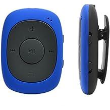 AGPtek® Badge G02 - Lettore MP3 con pinza e funzione radio FM, supporto dei formati MP3, WMA, WAV, 8 GB, colore: Blu