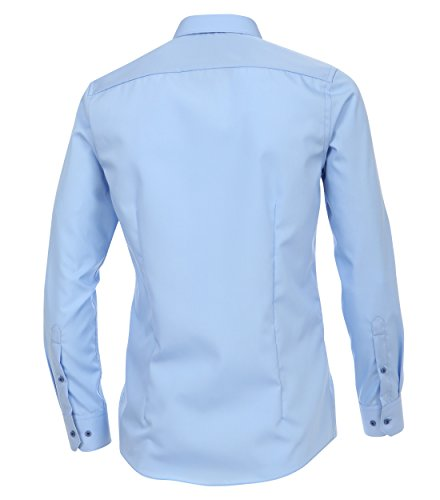 Venti - Slim Fit - Bügelfreies Herren Langarm Hemd, Unifarben (162568200 A) Aqua bis Petrol (150)