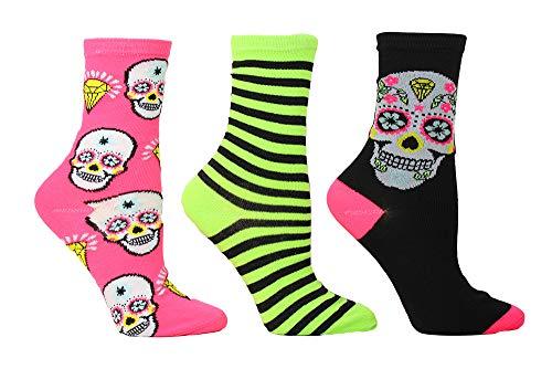 Betsey Johnson Damen Halloween Crews BJ42268 Socken, Black, Line Geren/Magenta, Einheitsgröße