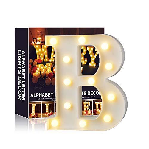 Ciojio A-Z Alphabet Licht Weiß LED Nachtlicht Briefe Kunststoff Lampen Stehen Hängend Beleuchtung zum Hochzeit Halloween Weihnachten Party Zuhause Dekoration (B)