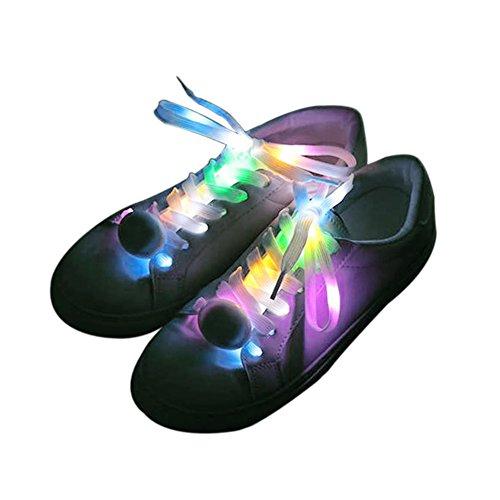 Dsaren led lacci, nylon lacci per scarpe con 4 modalità lampeggiante per hip-hop danza escursionismo pattinaggio notte festa