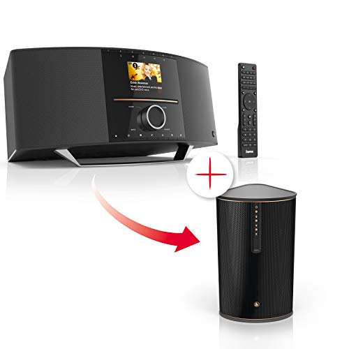 Hama Internetradio mit CD Player, Spotify und DAB+ (WLAN/LAN/UKW/Bluetooth/USB, Multiroom-fähig) + WLAN-Lautsprecher IR80MBT (Multiroom-Erweiterung, Bluetooth, Musik-Streaming, 30W Speaker)