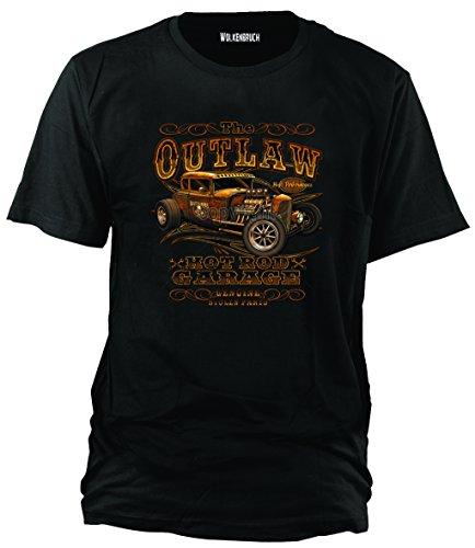 """Sputnik-Shirts - Maglietta """"Hot Rod Outlaw"""", taglie dalla S alla 5XL, Nero (nero), xxl"""