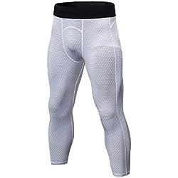 LaoZanA Pantalones Comprensión para Hombre Mallas 3/4 Deportivos Baselayer Secado Rápido Blanco M