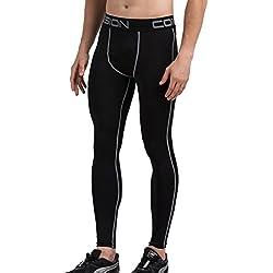 Cody Lundin® Medias para Hombre compresión Deporte Correr Fitness Pantalones de musculación al Aire Libre (M, Negro-Gris)