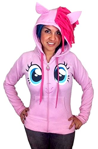 My little Pony Pinkie Pie Face Junior Pink Kostüm Hoodie With Mane (Junior X-Small) (My Little Pony Rainbow Dash Mädchen Kostüm)