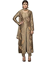 VARAYU Women's Beige Cotton Satin Partywear Semistitched Straight Suit(600DJ9012,Beige)