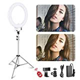 Neewer 18-inch White LED Ring Light with Silver Light Stand...