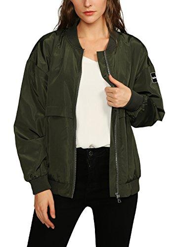 Urban GoCo Donne Classico Bomber Giacca Manica Lunga Zipper Cappotto Moto Bike Outwear Esercito verde