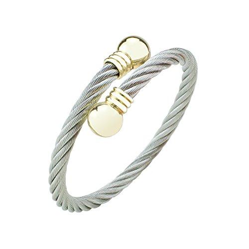 Stylisches Damen Armreif Schmuck aus verdrehtem silber Edelstahl   Frauen Armband mit Perlen in Farbe Gold   Durchmesser ca. 55 mm   Baffos (Armreif-perlen-armband)