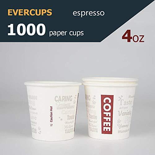 1000 Espresso Gobelets en Carton 120ml / 4oz. Gobelets jetables. Coffee to go. 100% Recyclable