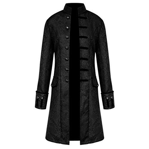 Anywow Herren Steampunk viktorianischen Mantel mittelalterlichen Jacke Viking Renaissance formalen Frack Gothic Tuxedo Stehkragen Mantel Halloween Kostüm (XXXL, Schwarz # 2)