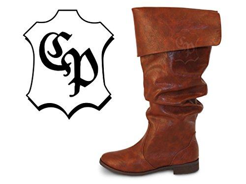 Piratenstiefel Mittelalter Stiefel LARP Karneval Ritter Piraten Musketier (39) (Piraten Stiefel Für Herren)