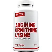 Bodyraise Suplemento de Arginina, Ornitina y Lisina 100 Cápsulas - Estimula la Masa Muscular, los Niveles de Energía y el Rendimiento Sexual - Gran Precursor de la Hormona del Crecimiento - 25 Dosis