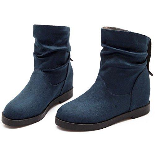 RAZAMAZA Femmes Slouch Boots A Enfiler Talon Compense Bottes De Cheville blue