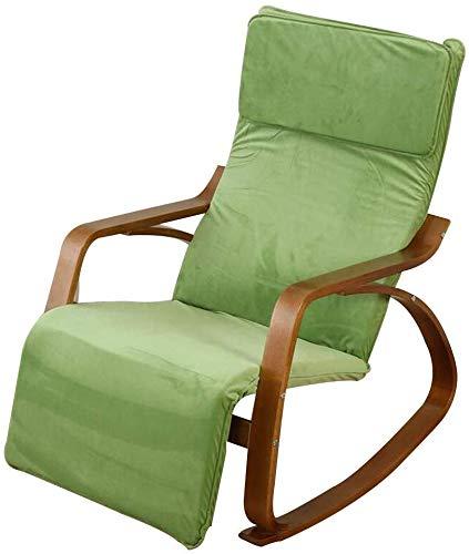 MJK Stühle, Garten im Freien Entspannen Sie sich Schaukelstuhl Haushalt Lounge Chair Klappsessel Segelflugzeug mit 5-fach verstellbarer Fußstütze Veranden Hinterhöfe , 4 Farbe,Grün -