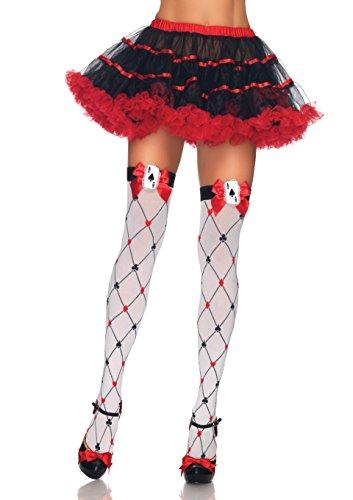 harm Oberschenkel Höhen mit Schleife und Karte Charme, eine Größe, weiß/rot/schwarz (Schwarze Und Weiße Kostüme Themen)