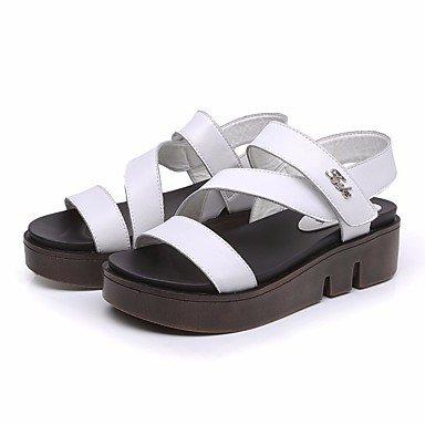 LvYuan Da donna Sandali Comoda PU (Poliuretano) Primavera Casual Comoda Bianco Nero Piatto White