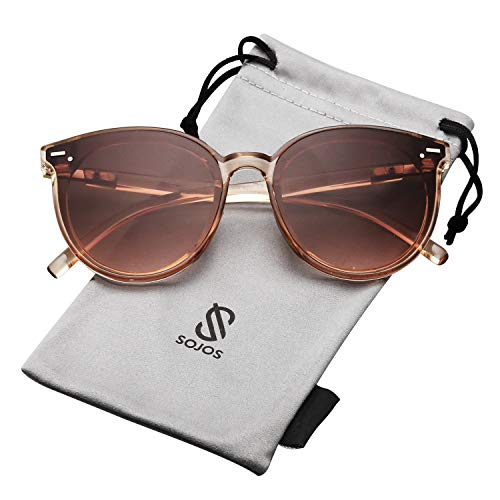 SOJOS Klassisch Retro Runde Sonnenbrille Damen Herren SJ2067 mit Klar Braun Rahmen/Braun Linse