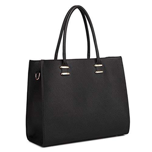 Miss Lulu Women Adjustable Designer Shoulder Handbags Ladies A4 Size Laptop Large Faux Leather Tote