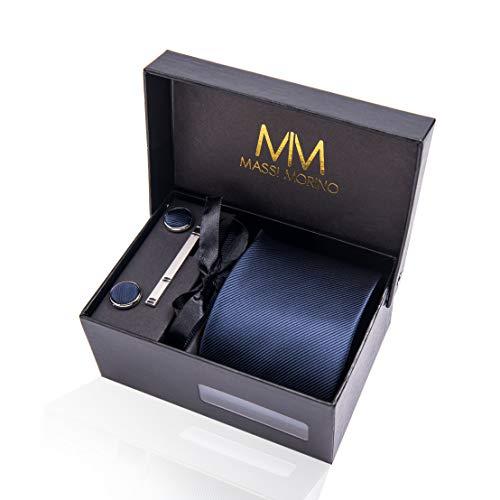 Massi Morino ® Herren Krawatte (Box Set) inkl. Einstecktuch + Manschettenknöpfe + Krawattennadel mit Geschenkbox (Dunkelblau Unifarbe)