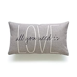 Hofdeco Decorative Cushion Cover HEAVY WEIGHT Cotton Linen His and Her Gray Love Is All You Need Script 30cm x 50cm