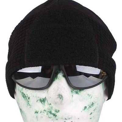AIRSOFT TACTICAL OPERATORS FLEECE BEANIE HAT WITH VELCRO PATCHES BLACK WINTER