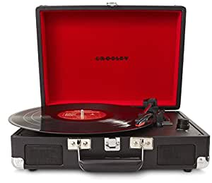 Crosley Cruiser Briefcase Style Three Speed Portable Vinyl Turntable with Built-In Stereo Speakers - Black